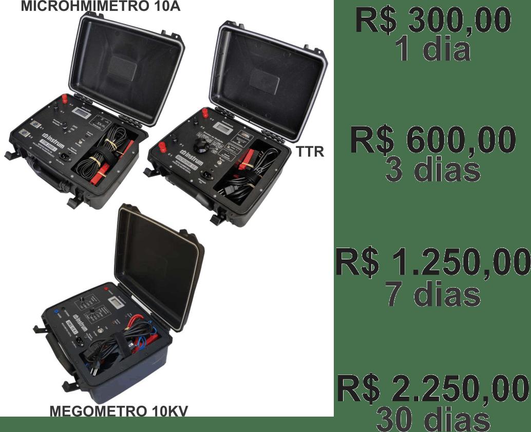 """MEGOMETRO 10KV + MICROHMIMETRO 10A + MEDIDOR DE RELAÇÃO DE ESPIRAS """"TTR"""" LOCAÇÃO"""