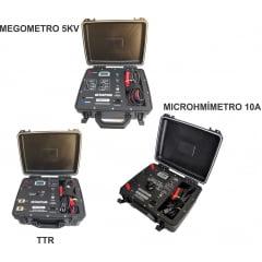 """Megômetro 5KV + Microhmímetro 10A + MEDIDOR DE RELAÇÃO DE ESPIRAS """"TTR"""" e Certificados RBC"""